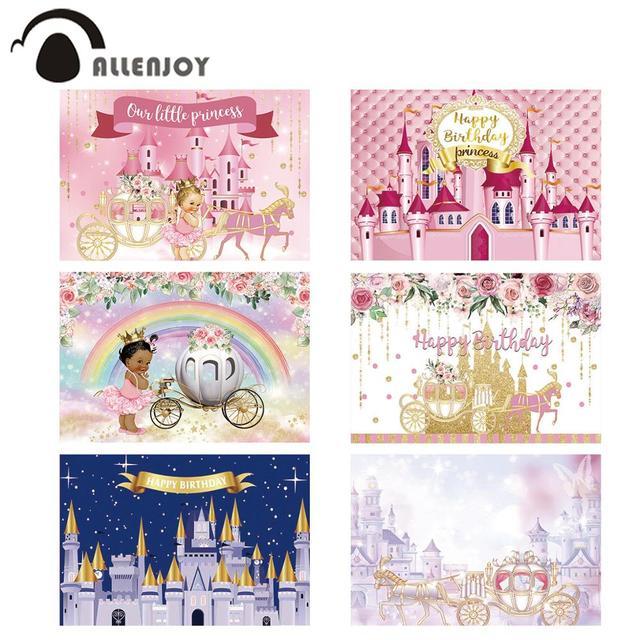 Allenjoy黄金城王女背景カボチャの馬車花誕生日背景写真ゾーン写真撮影小道具バナー