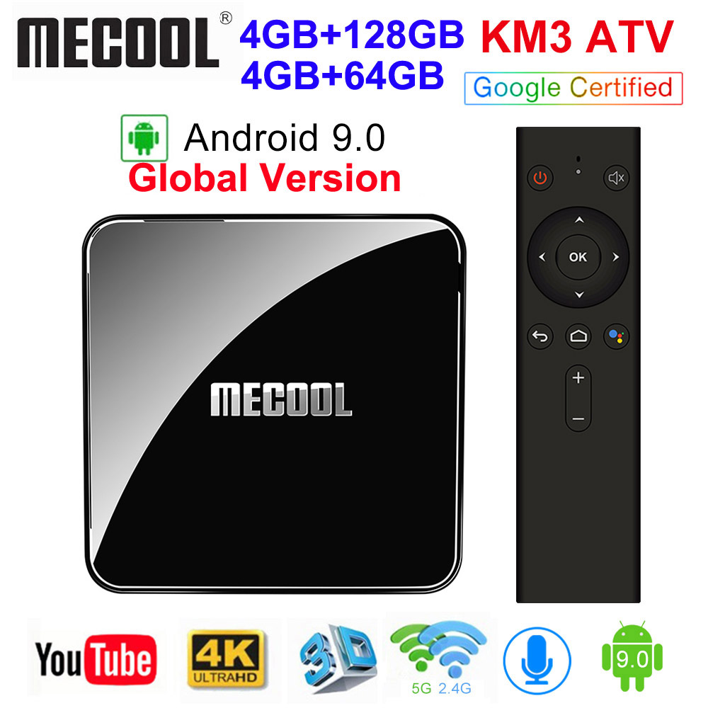 <font><b>MECOOL</b></font> KM3 ATV Androidtv Google Certified <font><b>Android</b></font> 9.0 <font><b>TV</b></font> <font><b>Box</b></font> 4GB 64GB 128GB Amlogic <font><b>S905X2</b></font> 4K 5G Dual Wifi BT4.0 <font><b>KM9</b></font> PRO 4G 32GB image