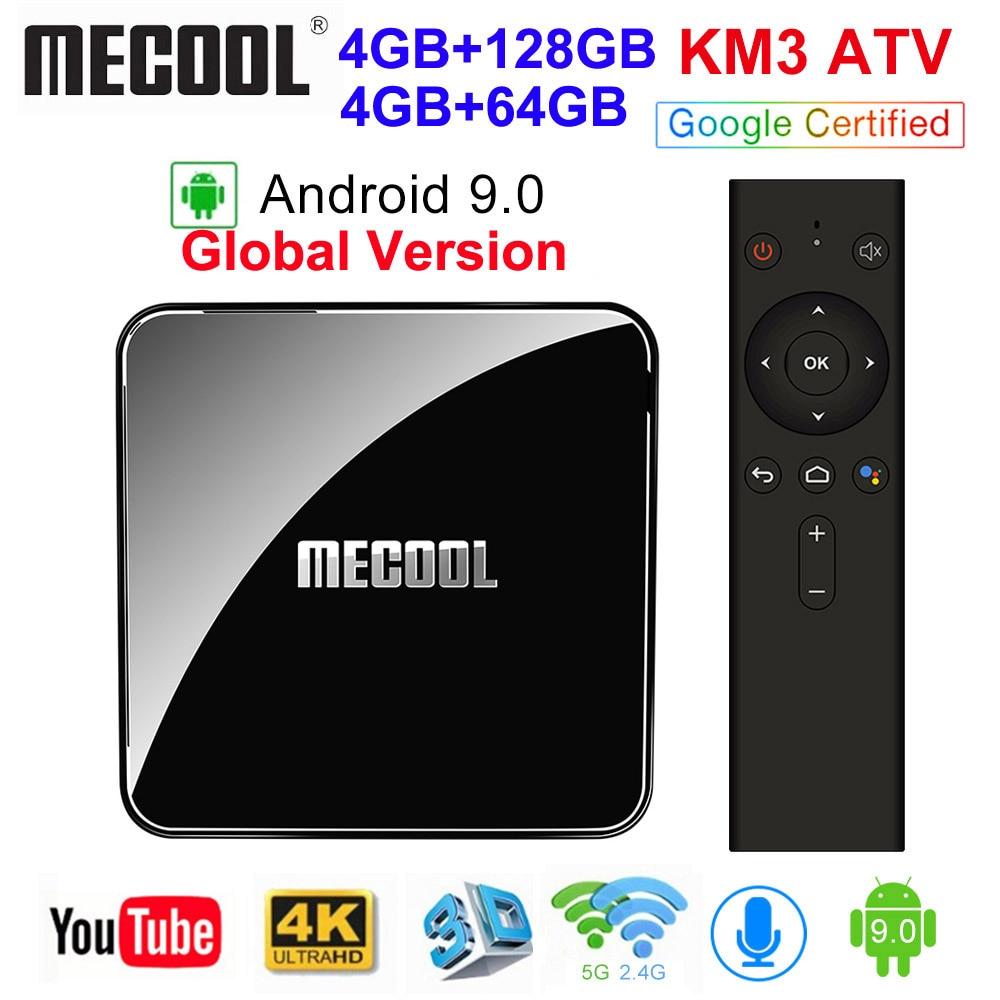 MECOOL KM3 ATV Androidtv 9,0 certificado por Google Android 9,0 TV Box 4 GB 64 GB Amlogic S905X2 4 K 2,4G 5G Dual Wifi BT4.0 Set Top Box|Decodificadores|   - AliExpress