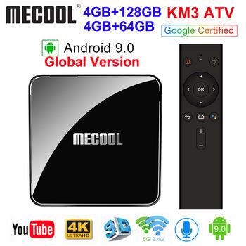 MECOOL KM3 ATV Androidtv Google certyfikowany Android 9 0 TV pudełko 4GB 64GB 128GB Amlogic S905X2 4K 5G podwójny Wifi BT4 0 KM9 PRO 4G 32GB tanie i dobre opinie 100 M Amlogic S905X2 Quad core ARM Cortex-A53 64 GB eMMC HDMI 2 0 Mail-G31 MP2 4G DDR3 KM3 ATV KM9 PRO 0 5kg DC 5 V 2A