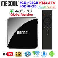 MECOOL KM3 ATV Androidtv 9.0 Certificada Google Android 9.0 GB Amlogic Caixa de TV 4 GB 64 S905X2 4 K 2.4G BT4.0 5G Dual Wi-fi Set Top Box