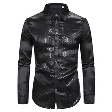 Fashion Shirts Men Hombre MOOWNUC Costume Autumn Male Long Sleeve Slim Host Emcee Gilding Casual Nightclub