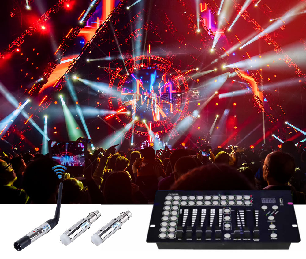 DMX Wireless Transmitter Receiver Controls 400m Rechargeable Remote Control For Professional Lighting Disco Club Party Lighting
