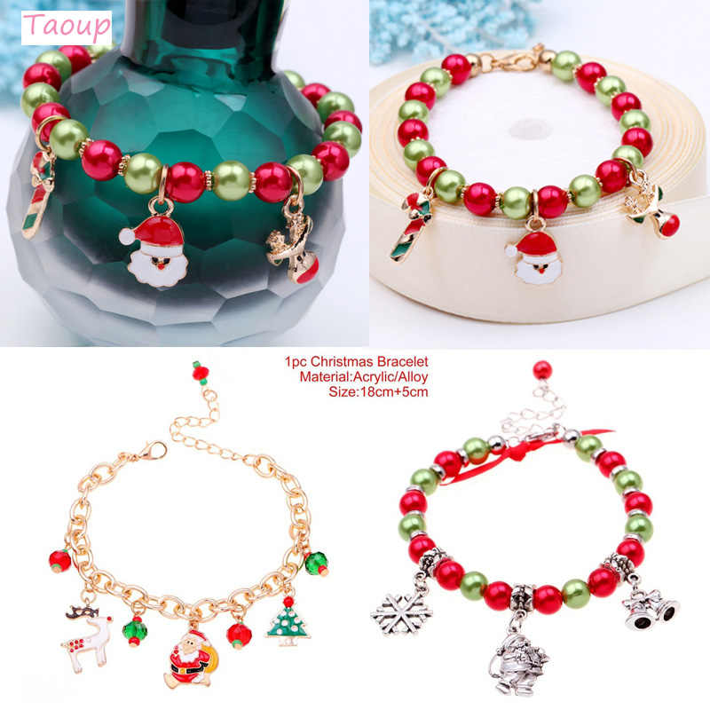 Taoup Metallic Santa Claus Christmas Bracelet Pendans Drop Ornaments Christmas Ornaments Xmas Decor for Home Navidad Noel Year