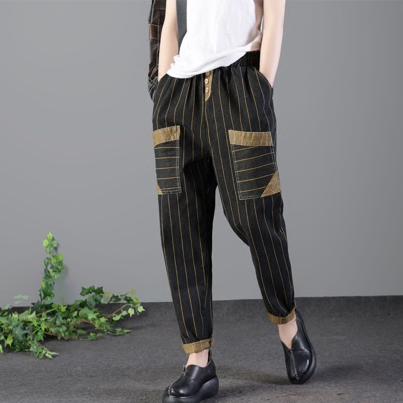 Spring Autumn Arts Style Vertical Stripe Women Vintage Jeans Elastic Waist Cotton Denim Harem Pants Big Pocket Loose Jeans D462