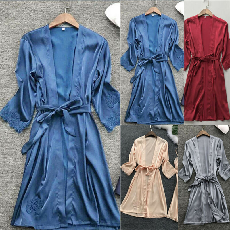New Sexy Lingerie Transparan Summer Sexy Women's Ladies Bride Robes Kimono Robe Satin Silk Lace Night Wear Gown Sleepwear