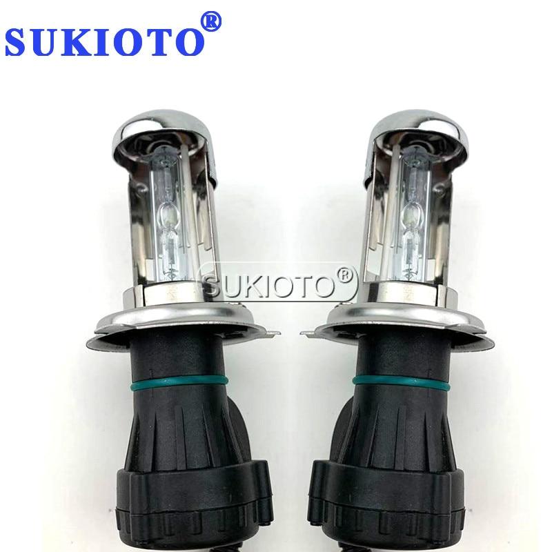 SUKIOTO 1 Pair 35W 55W Bi-xenon H4 Yellow 3000K 4300K 5000K 8000K 10000K 6000K H4 Bixenon Lamp Deep Blue H4 Xenon Hid Kit Part