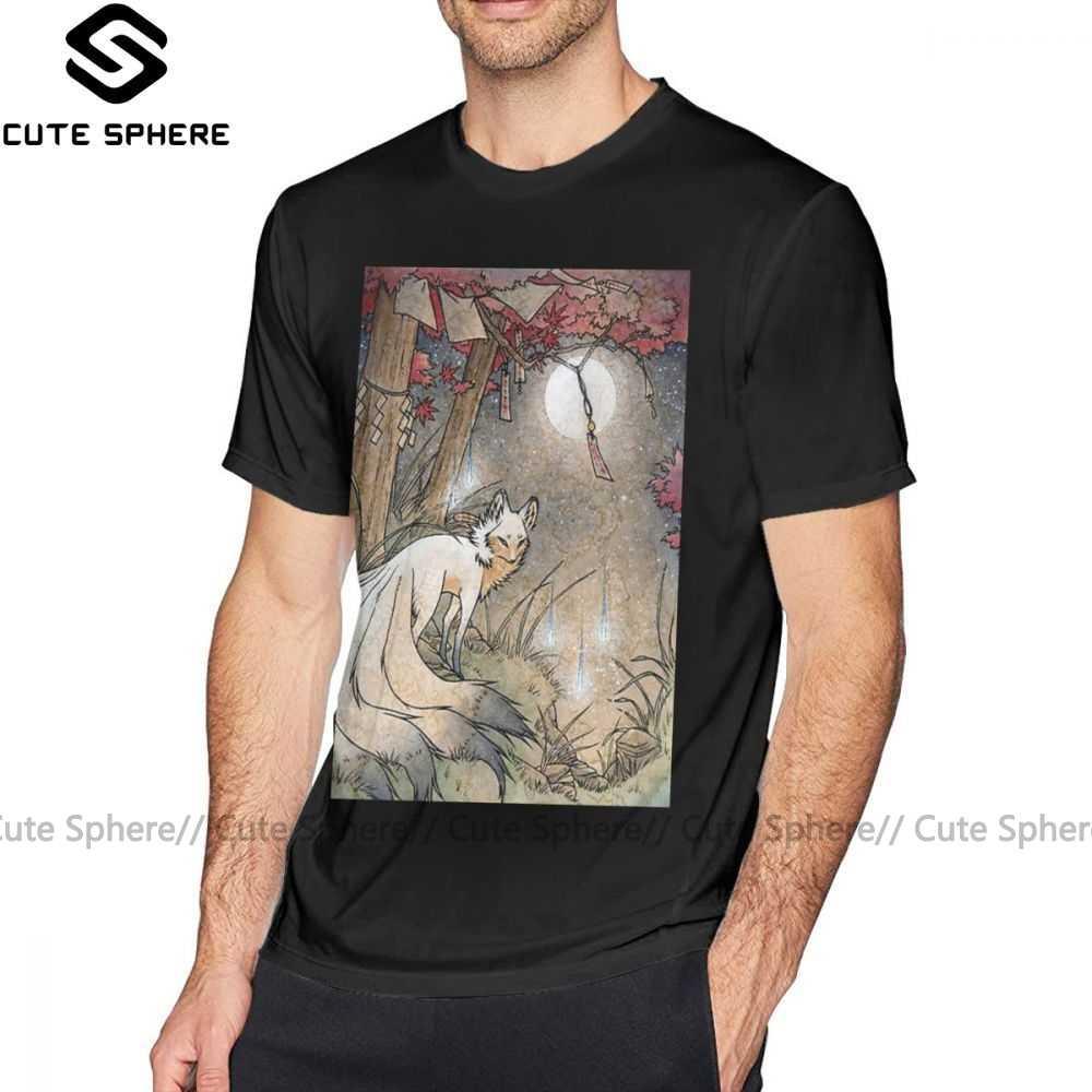 Kitsune футболка лисичка белая мужская летняя забавная короткий рукав XXX 100