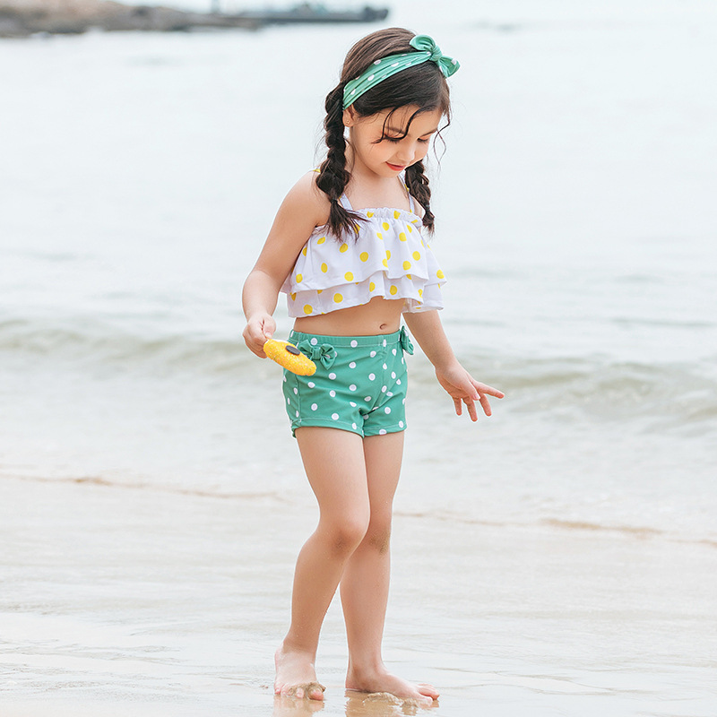 2019 New Style Hot Sales Split Type Tour Bathing Suit Send Hair Band Hipster Dots Bow Boxer Girls KID'S Swimwear