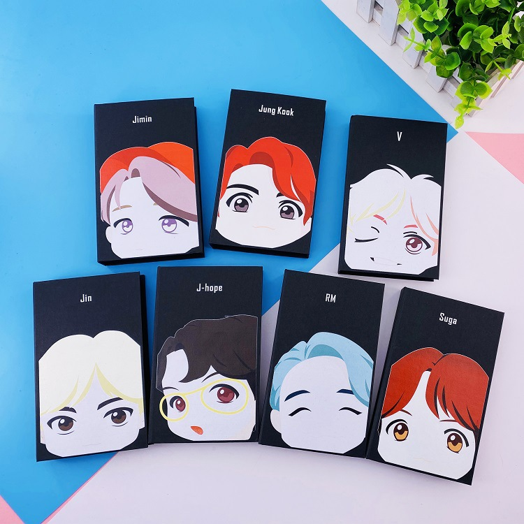 Kpop SUGA JIMIN RM JUNGKOOK V JIN JHOPE New Ablum Cartoon Sticky Note Stickers Note Pads Toy Gift