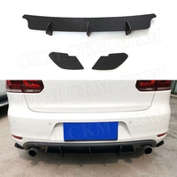 Rear Lip Diffuser Trim Cover For Volkswagen VW Golf 6 VII MK6 GTI R20 2010 2013 ABS Fins Shark Style Bumper Protector
