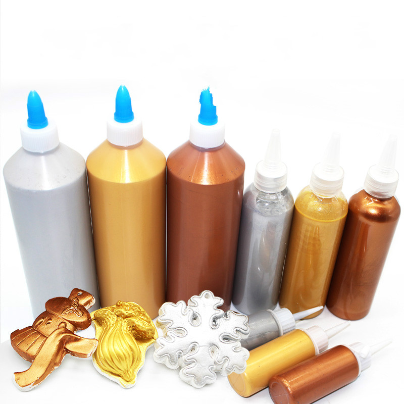 500ml  Bottle Of Metallic Acrylic Paint Gold Silver Bronze Buddha Gold Graffiti Diy Wall Painting Waterproof Can Not Afford