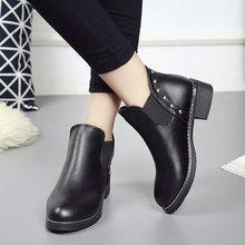 Женская обувь; Ботинки; обувь на низком каблуке; Однотонная