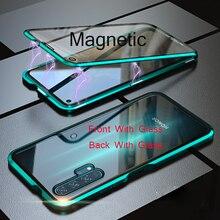 Dla Huawei P30 Pro magnetyczny futerał 360 dwustronne szkło hartowane Honor 20 Pro V20 8X Max V10 10 Lite 9X Plus Nova 5 4 4E 3
