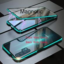 Für Huawei P30 Pro Magnetische Fall 360 doppelseitige Gehärtetem Glas Fall Honor 20 Pro V20 8X Max V10 10 Lite 9X Plus Nova 5 4 4E 3