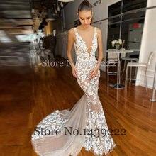 Великолепная v образным вырезом Глубокий свадебное платье с