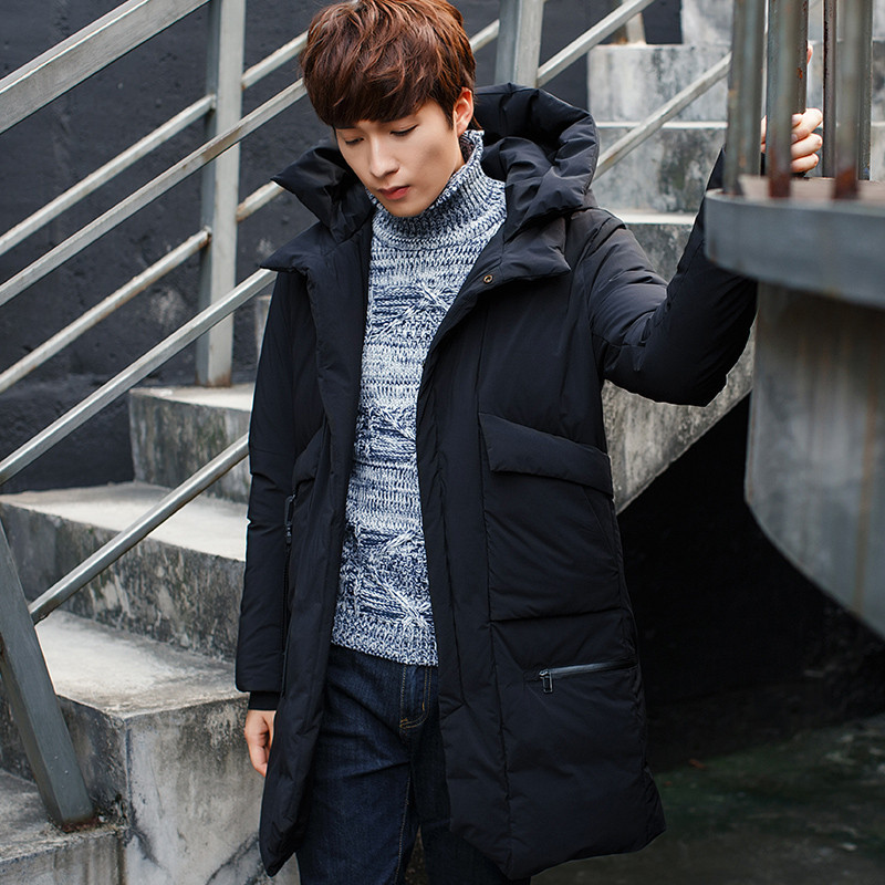Coat Winter Men's Warm Grey Duck Down Jacket Middle Long Hooded Men Parka Padded Mens Jackets Casacos Masculino WXF376 S S