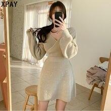 Модное платье свитер с высокой талией Женское зимнее трикотажное