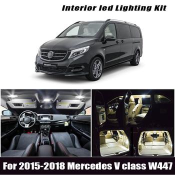 19 sztuk lampa LED trunk dla 2015-2018 Mercedes V klasa W447 V200 V220 V250 LED wnętrze światła kopułowe zestaw żarówek tanie i dobre opinie IKVVT CN (pochodzenie) światła cofania 300LM Festoon-39mm 12 v Mercedes-benz High Quality 5630 SMD LED Bulb 2 4W Map Dome Trunk Door lights Vanity Mirror Glove box Footwell