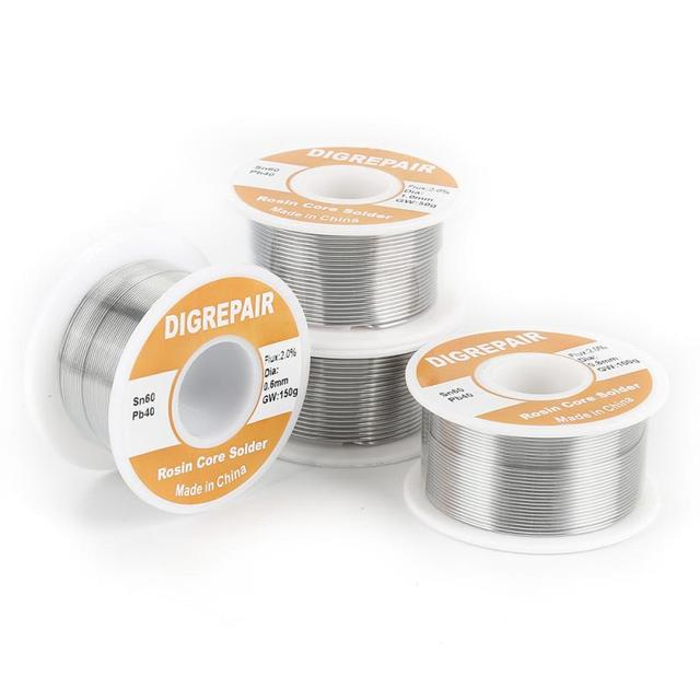 150 g/rolka cyna ołów rdzeń żywiczny drut lutowniczy 0.6mm 0.8mm 1.0mm 1.2mm 2% Flux Reel spawanie linia rdzeń żywiczny lutowane do lutowania