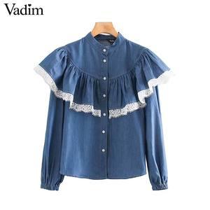 Image 1 - Vadim 女性甘いレースパッチワークブラウス長袖フリルかわいいシャツ女性のカジュアルなプリーツシックなトップス blusas LB726