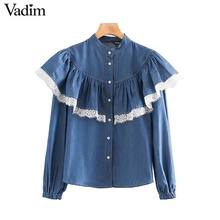 Vadim women sweet lace patchwork blouse long sleeve ruffles cute shirts female casual pleated chic tops blusas LB726