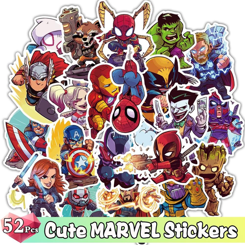 52 Pcs Cute Super Hero Stickers For Marvel Cartoon Funny Graffiti JDM Sticker For Skateboard Laptop Luggage Furniture Decal Toy