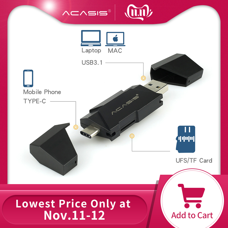 Acasis UFS Card Reader USB 3.1 Type C To UFS Micro SD TF Adapter Memory Card Smart Reader For Mobile Macbook Laptop Accessories