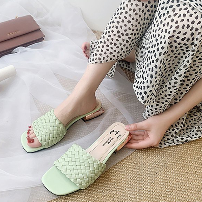 Rimocy Fashion Woven Square Heel Sandals Women Summer Open Toe Leather Slippers Woman 2020 New Sexy Party Slides Mujer 4 Colors