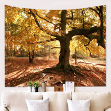 Trees and Forest Pattern Tapestry Feelings of Nature Beautiful Home Decoration Cool Polyester Thin Wall Hanging Cloth waterproof snows and trees pattern christmas wall hanging tapestry page 3