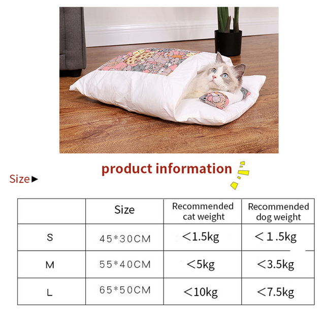 Japanese Cat Bed Winter Removable Warm Cat Sleeping Bag Deep Sleep Pet Dog Bed House Cats Nest Cushion with pillow 5
