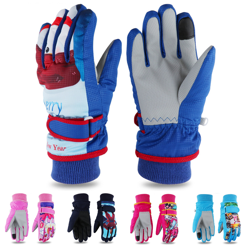 Thicken Ski Gloves Children Windproof Waterproof Adjustable Snowboard Climbing Snow Gloves Cartoon Pattern Wear-resisting PU