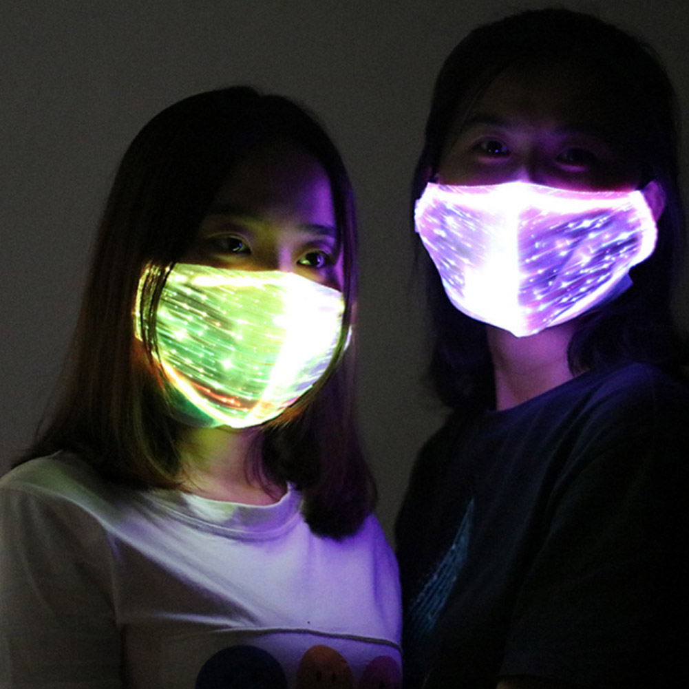 Newly LED Flashing Masks Chargeable Colorful Dust Mask Party Dance Single Party Fiber Optic Fabric Mask VK-ING