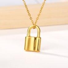 Ожерелье из нержавеющей стали с замком для женщин и мужчин золотистого