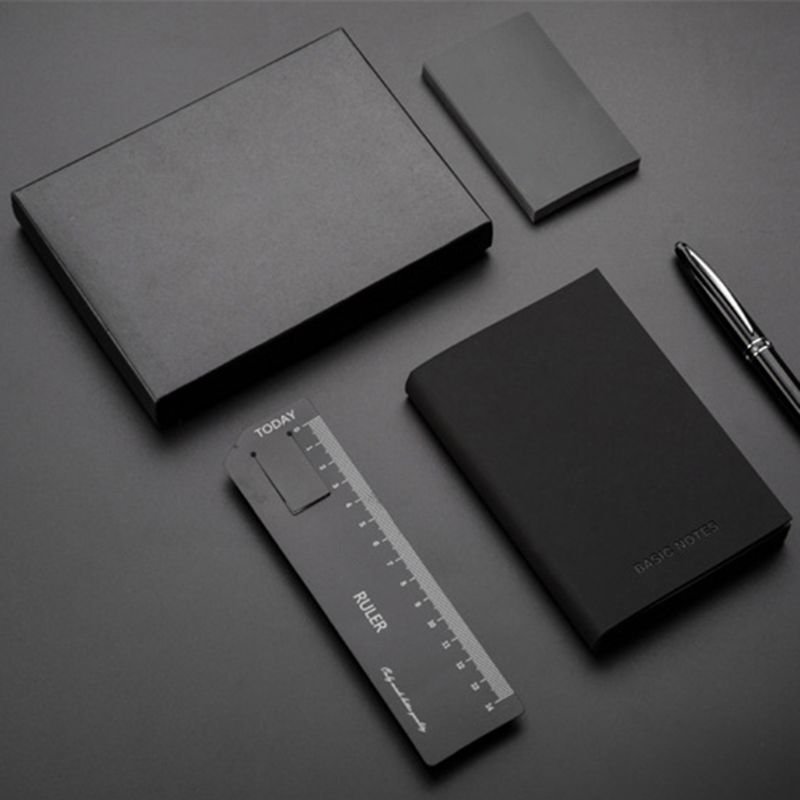 Creative Notebook Black Leather Cover Notepad Diary Planner Business Style Blank Line Pages School Office Supplies