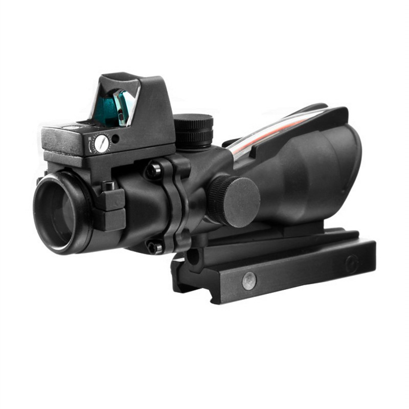AIM Tactical Hunting Riflescopes 4X32 ACOG Scope Red Fiber Airsoft Air Guns Rifle Scopes With RMR Red Dot Sight AO1003