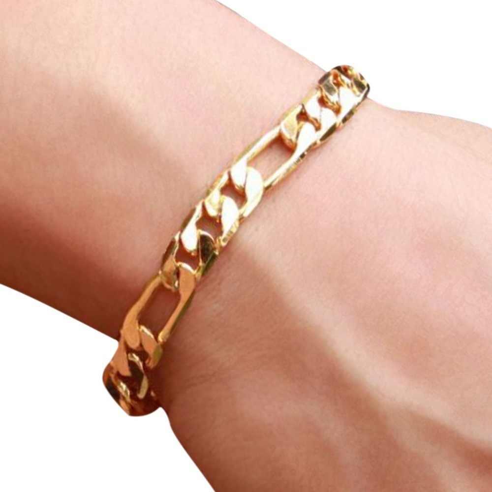 6mm 8 cali Curb kubański łańcuch złoty kolor bransoletki dla mężczyzn kobiety proste kwadratowe klamra na boki Link Chain bransoletka mężczyzn biżuteria