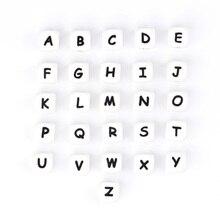 1000 шт пищевой 12 мм Силиконовые Бусины английские буквы Детские Силиконовые Прорезыватели ожерелье кулон подарок игрушка для ребенка прорезыватель
