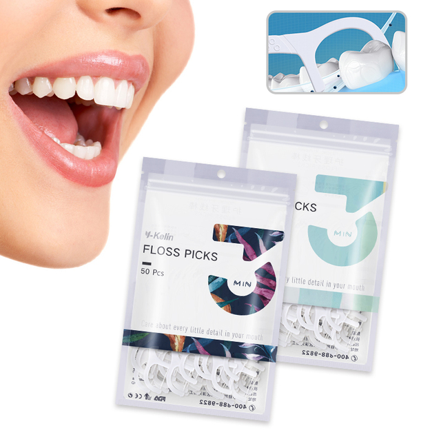 2018 New Arrival Y-Kelin Dental Floss Picks 50 pcs  Flosser Toothpicks HMP fiber Interdental Tooth   Brush