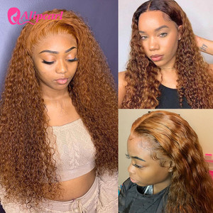 Highlight #1B/5 Colored Curly Lace Front Human Hair Wigs For Black Women Pre Plucked Remy Brazilian Ombre Wigs AliPearl Hair
