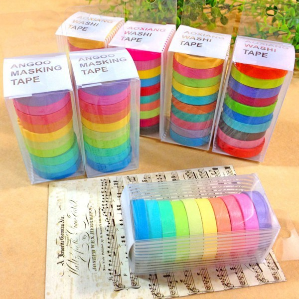2018 Newest 10x Colorful Sticky Tape Masking Adhesive Decorative Tape Scrapbooking New Tape