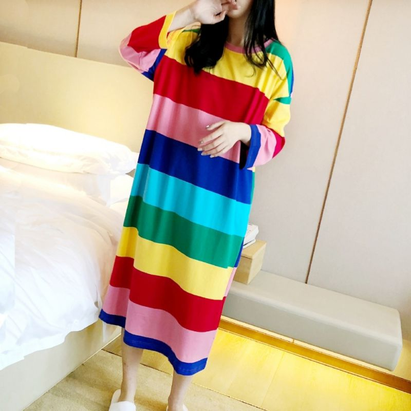 2019 Autumn Winter Ladies Rainbow Striped Loose Long Nightdress Home O Collar Long-sleeved Nightdress