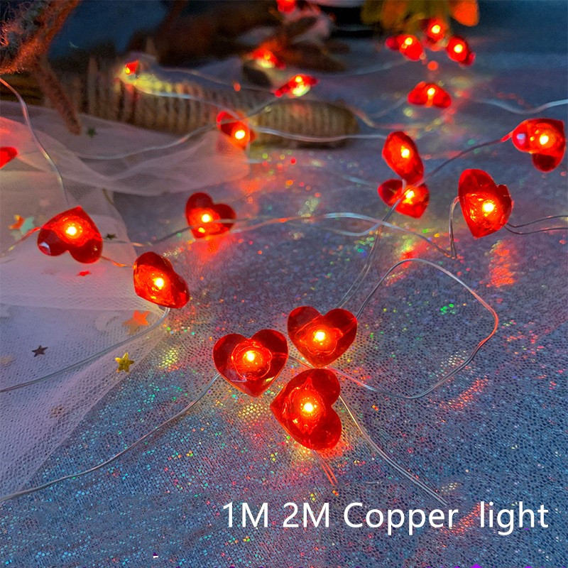 2 Pack 1/2M Silver <font><b>Wire</b></font> Red Hearts Copper String Lights Warm white decoration for Comping Party Wedding Lights <font><b>Battery</b></font> Operated image