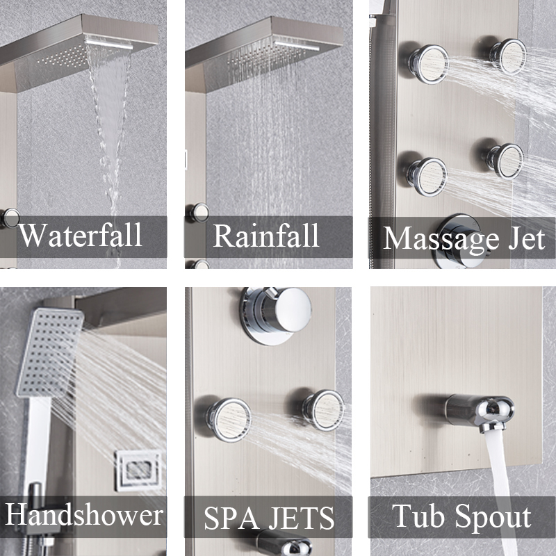 Image 2 - Black/Brushed Nickel Thermostatic Mixer Shower Panel Rainfall Waterfall Massage Jets Shower Column Shower Faucet Shower SetShower Faucets   -