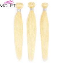 VIOLET 613 Bundles Brazilian Straight Hair Bundle Deals Blonde Human Tissage Blond Non Remy Honey 1/3/4 PCS