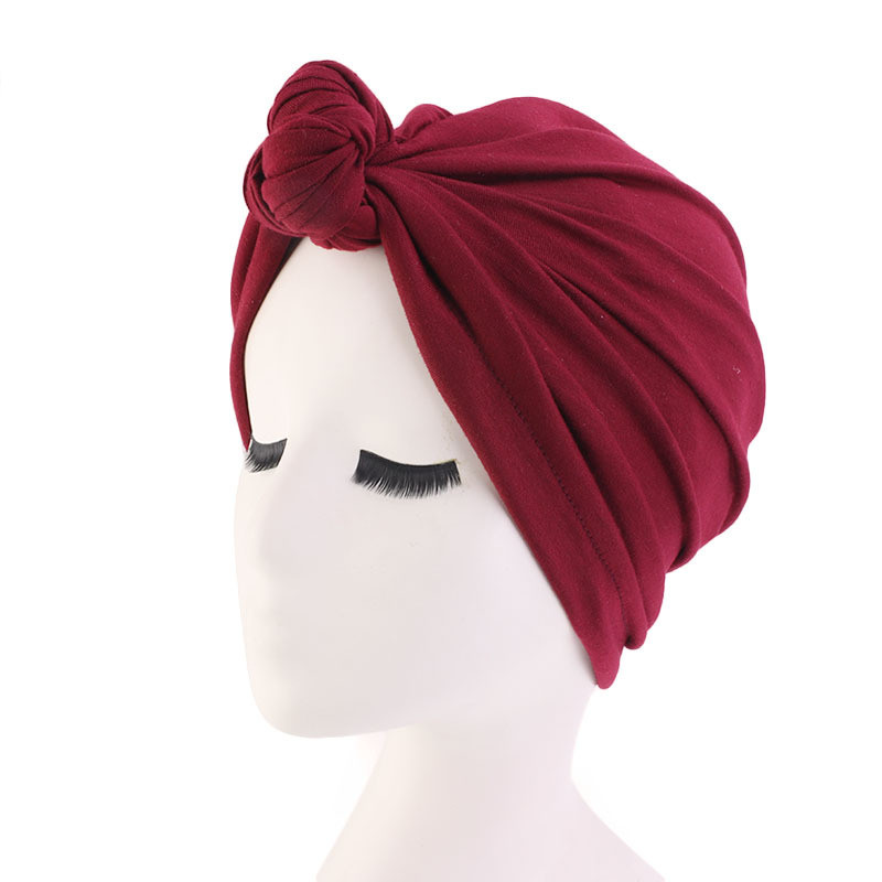 Helisopus Elastic Cotton Knot Turban Headscarf Africa Solid Twist Headwrap India Hat Cancer Chemo Headwear Hair Accessories