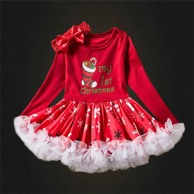 Puckcovi Christmas <font><b>dress</b></font> Robe noel <font><b>Baby</b></font> <font><b>Girls</b></font> Tutu <font><b>Dress</b></font> Long Sleeve Newborn <font><b>dresses</b></font> to <font><b>3</b></font> <font><b>Years</b></font> Cute colorful Vestidos nina image