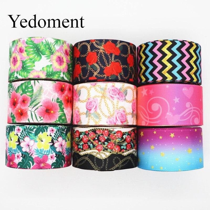 10 ярдов, корсажные ленты с цветочным принтом, 1,5 дюйма, 38 мм, для бантов для волос, материалы ручной работы «сделай сам» Y19101603