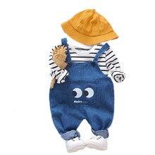 цена на Spring Children Cotton Clothes Suit Baby Boy Girl Casual T-Shirt Denim Overalls 2Pcs/set Toddler Cartoon Clothing Kids Tracksuit