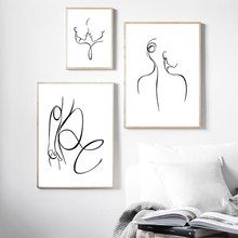 Abstract Sexy Woman Body Line Nordic Posters And Prints Wall Art Canvas Painting Black White Wall Pictures For Living Room Decor abstract minimalist sexy line woman wall art canvas painting nordic posters and prints wall pictures for living room home decor